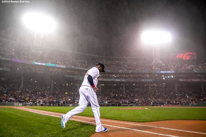 BOSTON, MA - OCTOBER 1: David Ortiz #34 of the Boston Red Sox runs onto the field as is introduced before a retirement tribute ceremony before a game against the Toronto Blue Jays on October 1, 2016 at Fenway Park in Boston, Massachusetts. (Photo by Billie Weiss/Boston Red Sox/Getty Images) *** Local Caption *** David Ortiz