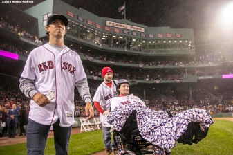 BOSTON, MA - OCTOBER 1: ALS survivor Pete Frates is introduced before a retirement tribute ceremony for David Ortiz of the Boston Red Sox before a game against the Toronto Blue Jays on October 1, 2016 at Fenway Park in Boston, Massachusetts. (Photo by Billie Weiss/Boston Red Sox/Getty Images) *** Local Caption *** Pete Frates