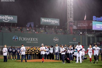BOSTON, MA - OCTOBER 1: A ceremonial first pitch during a retirement tribute ceremony for David Ortiz #34 of the Boston Red Sox before a game against the Toronto Blue Jays on October 1, 2016 at Fenway Park in Boston, Massachusetts. (Photo by Billie Weiss/Boston Red Sox/Getty Images) *** Local Caption *** David Ortiz