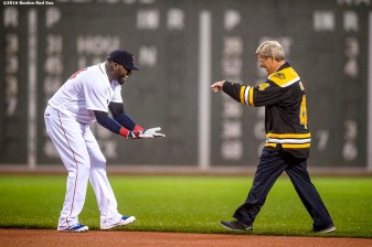BOSTON, MA - OCTOBER 1: David Ortiz #34 of the Boston Red Sox is greeted by former Boston Bruins player Bobby Orr during a retirement tribute ceremony before a game against the Toronto Blue Jays on October 1, 2016 at Fenway Park in Boston, Massachusetts. (Photo by Billie Weiss/Boston Red Sox/Getty Images) *** Local Caption *** David Ortiz; Bobby Orr
