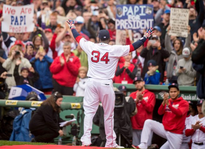 BOSTON, MA - OCTOBER 2: David Ortiz #34 of the Boston Red Sox is introduced during an honorary retirement ceremony in his final regular season game at Fenway Park against the Toronto Blue Jays on October 2, 2016 at Fenway Park in Boston, Massachusetts. (Photo by Billie Weiss/Boston Red Sox/Getty Images) *** Local Caption *** David Ortiz