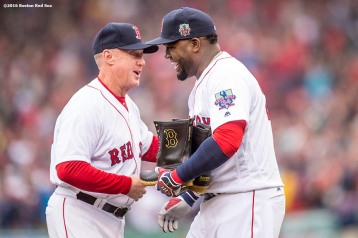 BOSTON, MA - OCTOBER 2: Third base coach Brian Butterfield presents David Ortiz #34 of the Boston Red Sox with a pair of L.L. Bean boots during an honorary retirement ceremony in his final regular season game at Fenway Park against the Toronto Blue Jays on October 2, 2016 at Fenway Park in Boston, Massachusetts. (Photo by Billie Weiss/Boston Red Sox/Getty Images) *** Local Caption *** David Ortiz; Brian Butterfield