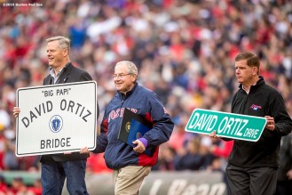 BOSTON, MA - OCTOBER 2: Massachusetts Governor Charlie Baker, Speaker of the Massachusetts House of Representatives Robert DeLeo, and Boston Mayor Marty Walsh present David Ortiz #34 of the Boston Red Sox with street signs during an honorary retirement ceremony in his final regular season game at Fenway Park against the Toronto Blue Jays on October 2, 2016 at Fenway Park in Boston, Massachusetts. (Photo by Billie Weiss/Boston Red Sox/Getty Images) *** Local Caption *** David Ortiz; Charlie Baker; Marty Walsh; Robert DeLeo