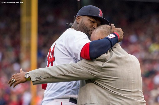 BOSTON, MA - OCTOBER 2: David Ortiz #34 of the Boston Red Sox kisses his father, Leo Ortiz, during an honorary retirement ceremony in his final regular season game at Fenway Park against the Toronto Blue Jays on October 2, 2016 at Fenway Park in Boston, Massachusetts. (Photo by Billie Weiss/Boston Red Sox/Getty Images) *** Local Caption *** David Ortiz; Leo Ortiz