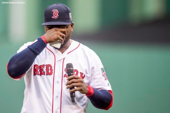 BOSTON, MA - OCTOBER 2: David Ortiz #34 of the Boston Red Sox reacts as he speaks during an honorary retirement ceremony in his final regular season game at Fenway Park against the Toronto Blue Jays on October 2, 2016 at Fenway Park in Boston, Massachusetts. (Photo by Billie Weiss/Boston Red Sox/Getty Images) *** Local Caption *** David Ortiz