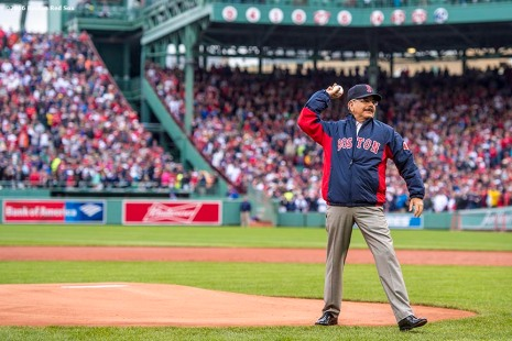 BOSTON, MA - OCTOBER 2: President of the Dominican Republic, Danilo Medina, throws out a ceremonial first pitch during an honorary retirement ceremony for David Ortiz #34 of the Boston Red Sox in his final regular season game at Fenway Park against the Toronto Blue Jays on October 2, 2016 at Fenway Park in Boston, Massachusetts. (Photo by Billie Weiss/Boston Red Sox/Getty Images) *** Local Caption *** David Ortiz; Danilo Medina