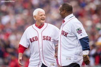 BOSTON, MA - OCTOBER 2: Former Boston Red Sox players Carl Yastrzemski and Jim Rice are introduced during an honorary retirement ceremony for David Ortiz #34 of the Boston Red Sox in his final regular season game at Fenway Park against the Toronto Blue Jays on October 2, 2016 at Fenway Park in Boston, Massachusetts. (Photo by Billie Weiss/Boston Red Sox/Getty Images) *** Local Caption *** David Ortiz; Carl Yastrzemski; Jim Rice