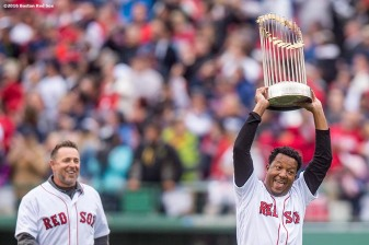 BOSTON, MA - OCTOBER 2: Former Boston Red Sox players Kevin Millar and Pedro Martinez are introduced during an honorary retirement ceremony for David Ortiz #34 of the Boston Red Sox in his final regular season game at Fenway Park against the Toronto Blue Jays on October 2, 2016 at Fenway Park in Boston, Massachusetts. (Photo by Billie Weiss/Boston Red Sox/Getty Images) *** Local Caption *** David Ortiz; Kevin Millar; Pedro Martinez
