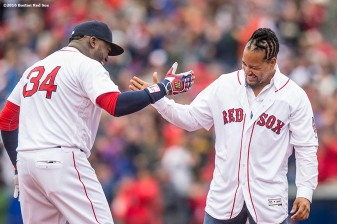 BOSTON, MA - OCTOBER 2: Former Boston Red Sox left fielder Manny Ramirez greets David Ortiz #34 of the Boston Red Sox during an honorary retirement ceremony in his final regular season game at Fenway Park against the Toronto Blue Jays on October 2, 2016 at Fenway Park in Boston, Massachusetts. (Photo by Billie Weiss/Boston Red Sox/Getty Images) *** Local Caption *** David Ortiz; Manny Ramirez