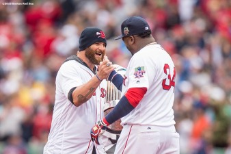 BOSTON, MA - OCTOBER 2: Former Boston Red Sox left fielder Jonny Gomes greets David Ortiz #34 of the Boston Red Sox during an honorary retirement ceremony in his final regular season game at Fenway Park against the Toronto Blue Jays on October 2, 2016 at Fenway Park in Boston, Massachusetts. (Photo by Billie Weiss/Boston Red Sox/Getty Images) *** Local Caption *** David Ortiz; Jonny Gomes