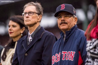 BOSTON, MA - OCTOBER 2: Boston Red Sox Principal Owner John Henry greets President of the Dominican Republic dDanilo Medina during honorary retirement ceremony for David Ortiz #34 of the Boston Red Sox in his final regular season game at Fenway Park against the Toronto Blue Jays on October 2, 2016 at Fenway Park in Boston, Massachusetts. (Photo by Billie Weiss/Boston Red Sox/Getty Images) *** Local Caption *** David Ortiz; John Henry; Danilo Medina