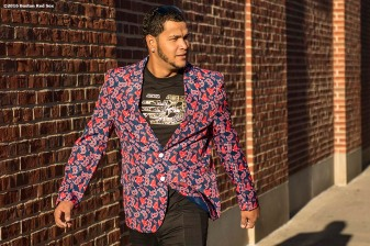 BOSTON, MA - OCTOBER 4: Eduardo Rodriguez #52 of the Boston Red Sox wears a Red Sox jacket as he boards the bus before game one of the American League Division Series against the Cleveland Indians on October 4, 2016 at Fenway Park in Boston, Massachusetts. (Photo by Billie Weiss/Boston Red Sox/Getty Images) *** Local Caption *** Eduardo Rodriguez