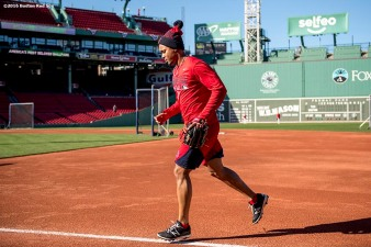 BOSTON, MA - OCTOBER 4: Xander Bogaerts #2 of the Boston Red Sox runs toward the dugout during a workout before game one of the American League Division Series against the Cleveland Indians on October 4, 2016 at Fenway Park in Boston, Massachusetts. (Photo by Billie Weiss/Boston Red Sox/Getty Images) *** Local Caption *** Xander Bogaerts