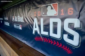 BOSTON, MA - OCTOBER 4: Dugout signage is shown during a workout before game one of the American League Division Series between the Boston Red Sox and the Cleveland Indians on October 4, 2016 at Fenway Park in Boston, Massachusetts. (Photo by Billie Weiss/Boston Red Sox/Getty Images) *** Local Caption ***