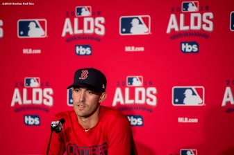 CLEVELAND, OH - OCTOBER 5: Rick Porcello #11 of the Boston Red Sox meets with the media during a press conference before a team workout before game one of the American League Division Series against the Cleveland Indians on October 5, 2016 at Progressive Field in Cleveland, Ohio. (Photo by Billie Weiss/Boston Red Sox/Getty Images) *** Local Caption *** Rick Porcello