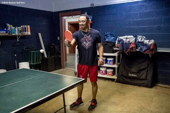 CLEVELAND, OH - OCTOBER 5: Mookie Betts #50 of the Boston Red Sox plays ping pong during a team workout before game one of the American League Division Series against the Cleveland Indians on October 5, 2016 at Progressive Field in Cleveland, Ohio. (Photo by Billie Weiss/Boston Red Sox/Getty Images) *** Local Caption *** Mookie Betts