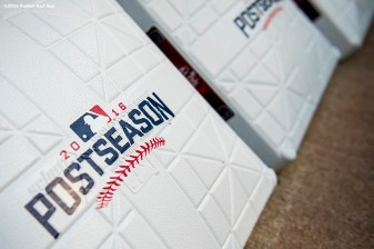 CLEVELAND, OH - OCTOBER 6: A base is shown before game one of the American League Division Series between the Boston Red Sox and the Cleveland Indians on October 6, 2016 at Progressive Field in Cleveland, Ohio. (Photo by Billie Weiss/Boston Red Sox/Getty Images) *** Local Caption ***
