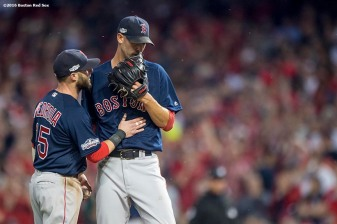 CLEVELAND, OH - OCTOBER 6: Rick Porcello #22 of the Boston Red Sox reacts with Dustin Pedroia during the third inning of game one of the American League Division Series against the Cleveland Indians on October 6, 2016 at Progressive Field in Cleveland, Ohio. (Photo by Billie Weiss/Boston Red Sox/Getty Images) *** Local Caption *** Rick Porcello
