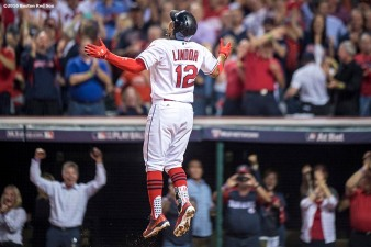 CLEVELAND, OH - OCTOBER 6: Francisco Lindor #12 of the Cleveland Indians reacts after hitting a solo home run during the third inning of game one of the American League Division Series against the Boston Red Sox on October 6, 2016 at Progressive Field in Cleveland, Ohio. (Photo by Billie Weiss/Boston Red Sox/Getty Images) *** Local Caption *** Francisco Lindor