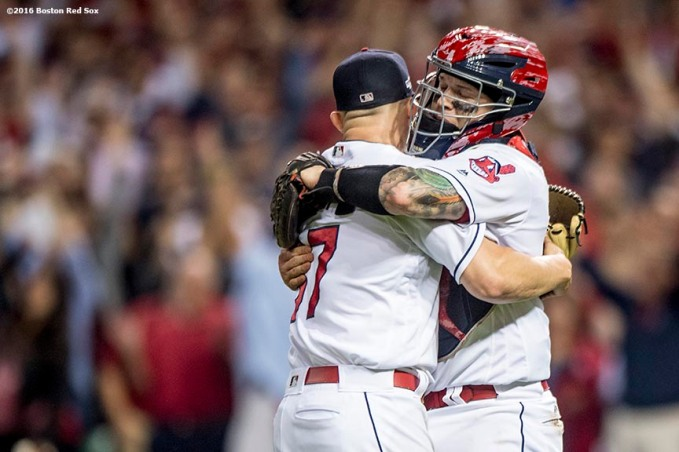 CLEVELAND, OH - OCTOBER 6: Cody Allen #37 and Roberto Perez #55 of the Cleveland Indians celebrate a victory in game one of the American League Division Series against the Boston Red Sox on October 6, 2016 at Progressive Field in Cleveland, Ohio. (Photo by Billie Weiss/Boston Red Sox/Getty Images) *** Local Caption *** Cody Allen; Roberto Perez