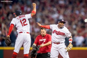 CLEVELAND, OH - OCTOBER 6: Francisco Lindor #12 and Rajai Davis #20 of the Cleveland Indians celebrate a victory in game one of the American League Division Series against the Boston Red Sox on October 6, 2016 at Progressive Field in Cleveland, Ohio. (Photo by Billie Weiss/Boston Red Sox/Getty Images) *** Local Caption *** Francisco Lindor; Rajai Davis