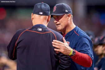 CLEVELAND, OH - OCTOBER 6: Manager John Farrell of the Boston Red Sox shakes hands with manager Terry Francona of the Cleveland Indians before game one of the American League Division Series on October 6, 2016 at Progressive Field in Cleveland, Ohio. (Photo by Billie Weiss/Boston Red Sox/Getty Images) *** Local Caption *** John Farrell; Terry Francona