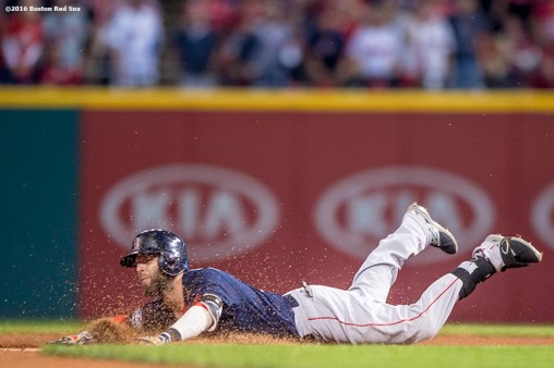 CLEVELAND, OH - OCTOBER 6: Dustin Pedroia #15 of the Boston Red Sox slides into second base after hitting a double during the first inning of game one of the American League Division Series against the Cleveland Indians on October 6, 2016 at Progressive Field in Cleveland, Ohio. (Photo by Billie Weiss/Boston Red Sox/Getty Images) *** Local Caption *** Dustin Pedroia