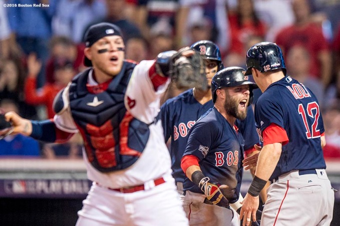 CLEVELAND, OH - OCTOBER 6: Dustin Pedroia #15 reacts with Brock Holt #12 of the Boston Red Sox after Holt was tagged out by Roberto Perez #55 of the Cleveland Indians during the first inning of game one of the American League Division Series on October 6, 2016 at Progressive Field in Cleveland, Ohio. (Photo by Billie Weiss/Boston Red Sox/Getty Images) *** Local Caption *** Roberto Perez; Dustin Pedroia; Brock Holt