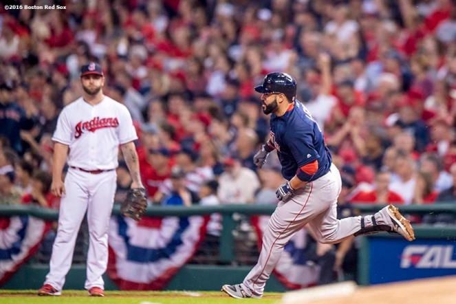 CLEVELAND, OH - OCTOBER 6: Sandy Leon #3 of the Boston Red Sox rounds first base after hitting a solo home run during the fifth inning of game one of the American League Division Series against the Cleveland Indians on October 6, 2016 at Progressive Field in Cleveland, Ohio. (Photo by Billie Weiss/Boston Red Sox/Getty Images) *** Local Caption *** Sandy Leon