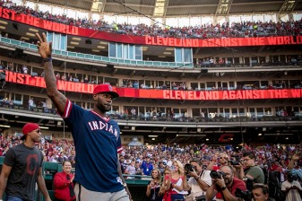 CLEVELAND, OH - OCTOBER 7: LeBron James #23 of the Cleveland Cavaliers is introduced before game two of the American League Division Series between the Boston Red Sox and the Cleveland Indians on October 7, 2016 at Progressive Field in Cleveland, Ohio. (Photo by Billie Weiss/Boston Red Sox/Getty Images) *** Local Caption *** LeBron James