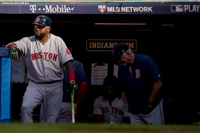CLEVELAND, OH - OCTOBER 7: David Ortiz #34 of the Boston Red Sox looks on from the dugout during the fourth inning of game two of the American League Division Series against the Cleveland Indians on October 7, 2016 at Progressive Field in Cleveland, Ohio. (Photo by Billie Weiss/Boston Red Sox/Getty Images) *** Local Caption *** David Ortiz