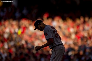 CLEVELAND, OH - OCTOBER 7: David Price #24 of the Boston Red Sox reacts during the first inning of game two of the American League Division Series against the Cleveland Indians on October 7, 2016 at Progressive Field in Cleveland, Ohio. (Photo by Billie Weiss/Boston Red Sox/Getty Images) *** Local Caption *** David Price