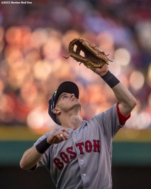 CLEVELAND, OH - OCTOBER 7: Brock Holt #12 of the Boston Red Sox catches a fly ball during the second inning of game two of the American League Division Series against the Cleveland Indians on October 7, 2016 at Progressive Field in Cleveland, Ohio. (Photo by Billie Weiss/Boston Red Sox/Getty Images) *** Local Caption *** Brock Holt