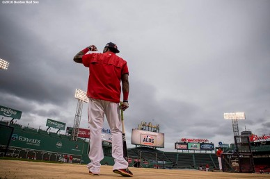 BOSTON, MA - OCTOBER 8: David Ortiz #34 of the Boston Red Sox reacts during a workout before game three of the American League Division Series against the Cleveland Indians on October 8, 2016 at Fenway Park in Boston, Massachusetts. (Photo by Billie Weiss/Boston Red Sox/Getty Images) *** Local Caption *** David Ortiz