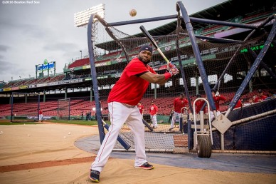 BOSTON, MA - OCTOBER 8: David Ortiz #34 of the Boston Red Sox hits a baseball into the stands during a workout before game three of the American League Division Series against the Cleveland Indians on October 8, 2016 at Fenway Park in Boston, Massachusetts. (Photo by Billie Weiss/Boston Red Sox/Getty Images) *** Local Caption *** David Ortiz