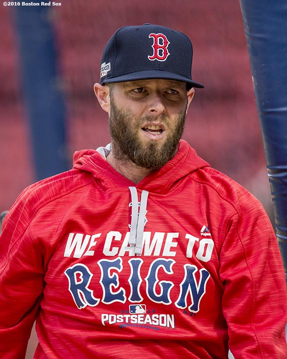 BOSTON, MA - OCTOBER 8: Dustin Pedroia #15 of the Boston Red Sox reacts during a workout before game three of the American League Division Series against the Cleveland Indians on October 8, 2016 at Fenway Park in Boston, Massachusetts. (Photo by Billie Weiss/Boston Red Sox/Getty Images) *** Local Caption *** Dustin Pedroia