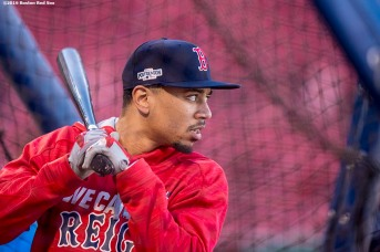 BOSTON, MA - OCTOBER 10: Mookie Betts #50 of the Boston Red Sox takes batting practice before game three of the American League Division Series against the Cleveland Indians on October 10, 2016 at Fenway Park in Boston, Massachusetts. (Photo by Billie Weiss/Boston Red Sox/Getty Images) *** Local Caption *** Mookie Betts