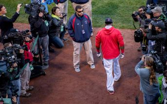BOSTON, MA - OCTOBER 10: David Ortiz #34 of the Boston Red Sox walks out of the dugout before game three of the American League Division Series against the Cleveland Indians on October 10, 2016 at Fenway Park in Boston, Massachusetts. (Photo by Billie Weiss/Boston Red Sox/Getty Images) *** Local Caption *** David Ortiz