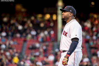 BOSTON, MA - OCTOBER 10: David Ortiz #34 of the Boston Red Sox looks on before game three of the American League Division Series against the Cleveland Indians on October 10, 2016 at Fenway Park in Boston, Massachusetts. (Photo by Billie Weiss/Boston Red Sox/Getty Images) *** Local Caption *** David Ortiz