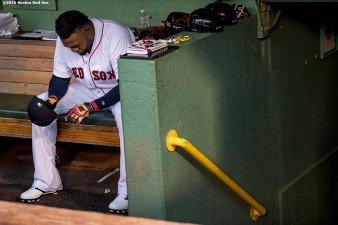 BOSTON, MA - OCTOBER 10: David Ortiz #34 of the Boston Red Sox sits in the dugout before game three of the American League Division Series against the Cleveland Indians on October 10, 2016 at Fenway Park in Boston, Massachusetts. (Photo by Billie Weiss/Boston Red Sox/Getty Images) *** Local Caption *** David Ortiz