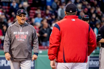 BOSTON, MA - OCTOBER 10: Manager Terry Francona of the Cleveland Indians and Manager John Farrell of the Boston Red Sox react before game three of the American League Division Series against the Cleveland Indians on October 10, 2016 at Fenway Park in Boston, Massachusetts. (Photo by Billie Weiss/Boston Red Sox/Getty Images) *** Local Caption *** Terry Francona; John Farrell