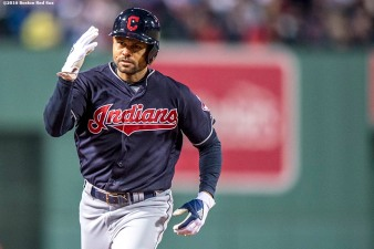 BOSTON, MA - OCTOBER 10: Coco Crisp #4 of the Cleveland Indians reacts after hitting a two run home run during the sixth inning of game three of the American League Division Series against the Boston Red Sox on October 10, 2016 at Fenway Park in Boston, Massachusetts. (Photo by Billie Weiss/Boston Red Sox/Getty Images) *** Local Caption *** Coco Crisp