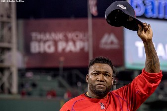 BOSTON, MA - OCTOBER 10: David Ortiz #34 of the Boston Red Sox gives a curtain call to fans after playing the final game of his career during game three of the American League Division Series against the Cleveland Indians on October 10, 2016 at Fenway Park in Boston, Massachusetts. (Photo by Billie Weiss/Boston Red Sox/Getty Images) *** Local Caption *** David Ortiz