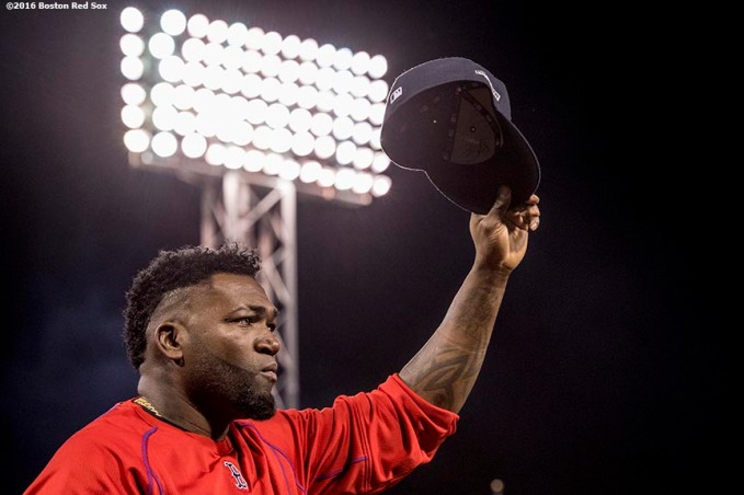 BOSTON, MA - OCTOBER 10: David Ortiz #34 of the Boston Red Sox reacts as he gives a curtain call to fans after playing the final game of his career during game three of the American League Division Series against the Cleveland Indians on October 10, 2016 at Fenway Park in Boston, Massachusetts. (Photo by Billie Weiss/Boston Red Sox/Getty Images) *** Local Caption *** David Ortiz