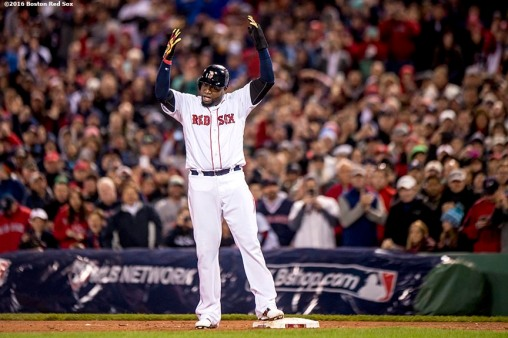 BOSTON, MA - OCTOBER 10: David Ortiz #34 of the Boston Red Sox gestures to the crowd during the eighth inning of game three of the American League Division Series against the Cleveland Indians on October 10, 2016 at Fenway Park in Boston, Massachusetts. (Photo by Billie Weiss/Boston Red Sox/Getty Images) *** Local Caption *** David Ortiz