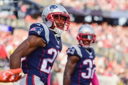 FOXBORO, MA - OCTOBER 16: Eric Rowe #25 of the New England Patriots reacts after blocking a pass during the fourth quarter of a game against the Cincinnati Bengals at Gillette Stadium on October 16, 2016 in Foxboro, Massachusetts. (Photo by Billie Weiss/Getty Images) *** Local Caption *** Eric Rowe