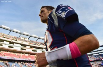 FOXBORO, MA - OCTOBER 16: Tom Brady #12 of the New England Patriots reacts following a game against the Cincinnati Bengals at Gillette Stadium on October 16, 2016 in Foxboro, Massachusetts. (Photo by Billie Weiss/Getty Images) *** Local Caption *** Tom Brady