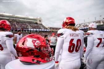 CHESTNUT HILL, MA - NOVEMBER 05: A helmet of Louisville is shown during a game against Boston College at Alumni Stadium on November 5, 2016 in Chestnut Hill, Massachusetts. (Photo by Billie Weiss/Getty Images) *** Local Caption ***