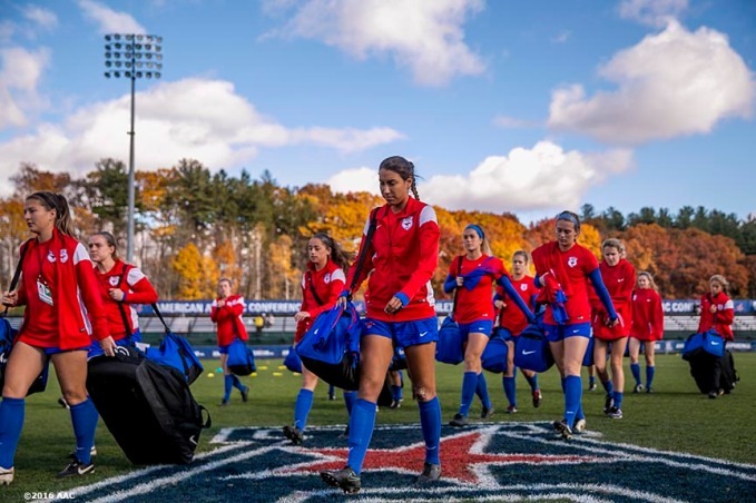 November 6, 2016, Storrs, CT: Members of Southern Methodist University warm up before the American Athletic Conference Championship game against University of Connecticut at Morrone Stadium in Storrs, Connecticut Sunday, November 6, 2016. (Photos by Billie Weiss/American Athletic Conference)
