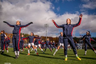 November 6, 2016, Storrs, CT: Members of the University of Connecticut warm up before the American Athletic Conference Championship game against Southern Methodist University at Morrone Stadium in Storrs, Connecticut Sunday, November 6, 2016. (Photos by Billie Weiss/American Athletic Conference)